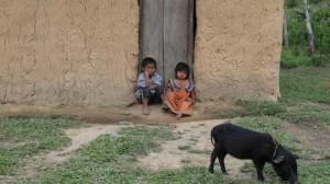 14-08 Kinder Schwein Lehm Hütte