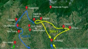 Die Route der zwei Wanderungen der Evaluierung durch die Freiwilligen 2015