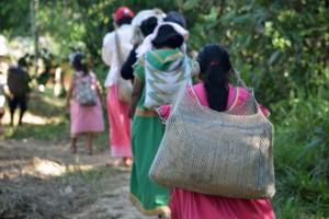 """Dorfbewohnerinnen in ihren traditionellen Nahua-Kleidern tragen Baumaterial in """"chácara"""" Beuteln zur Quelle"""