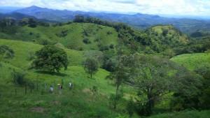 Blick auf das Dorf Mata Redonda